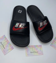 Bedazzled Crystal & Red Nike Slides In Black