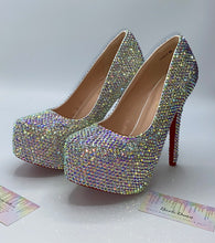 Swarovski Element Crystal AB Diamonds Heels In White With Red Soles