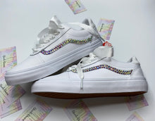 Old Skool Leather Vans With Swarovski Crystal AB Iridescent