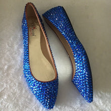 Bedazzled Ballet Pointy Style Flats In Nude With Sapphire Blue Crystals
