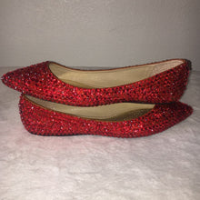 Bedazzled Ballet Pointy Style Flats In Nude With Light Siam Red Crystals