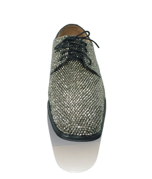Mens Bedazzled Black Diamond Crystal Shoes