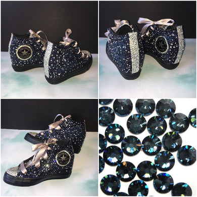 All Star Original High Top Black Converse Wedges With Montana Diamonds