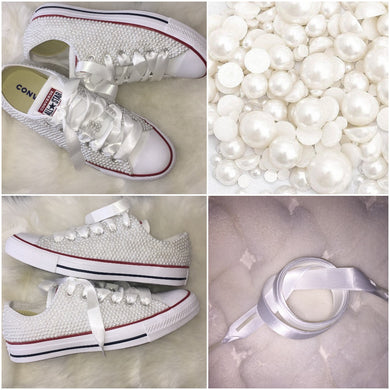 All Star Original Converse With Pure White Pearls &  With White Ribbon Laces
