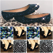Bedazzled Ballet Flats In Black With Jet Black & Jet Black AB Crystals