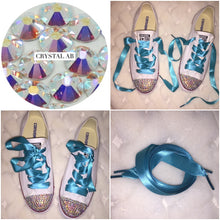 Dainty All Star Converse With AB Crystal & Turqoise Ribbon Laces