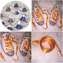 Dainty All Star Converse With AB Crystal & Light Orange Ribbon Laces