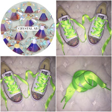 Dainty All Star Converse With AB Crystal & Neon Green Ribbon Laces