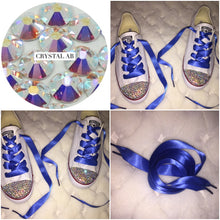 Dainty All Star Converse With AB Crystal & Royal Blue Ribbon Laces