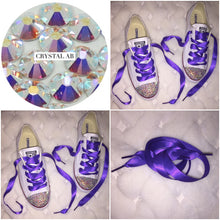 Dainty All Star Converse With AB Crystal & Cadbury Purple Ribbon Laces