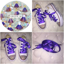 All Star Converse With AB Crystal & Cadbury Purple Ribbon Laces