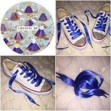 All Star Converse With AB Crystal & Royal Blue Ribbon Laces