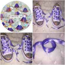 All Star Converse With AB Crystal & Lilac Ribbon Laces