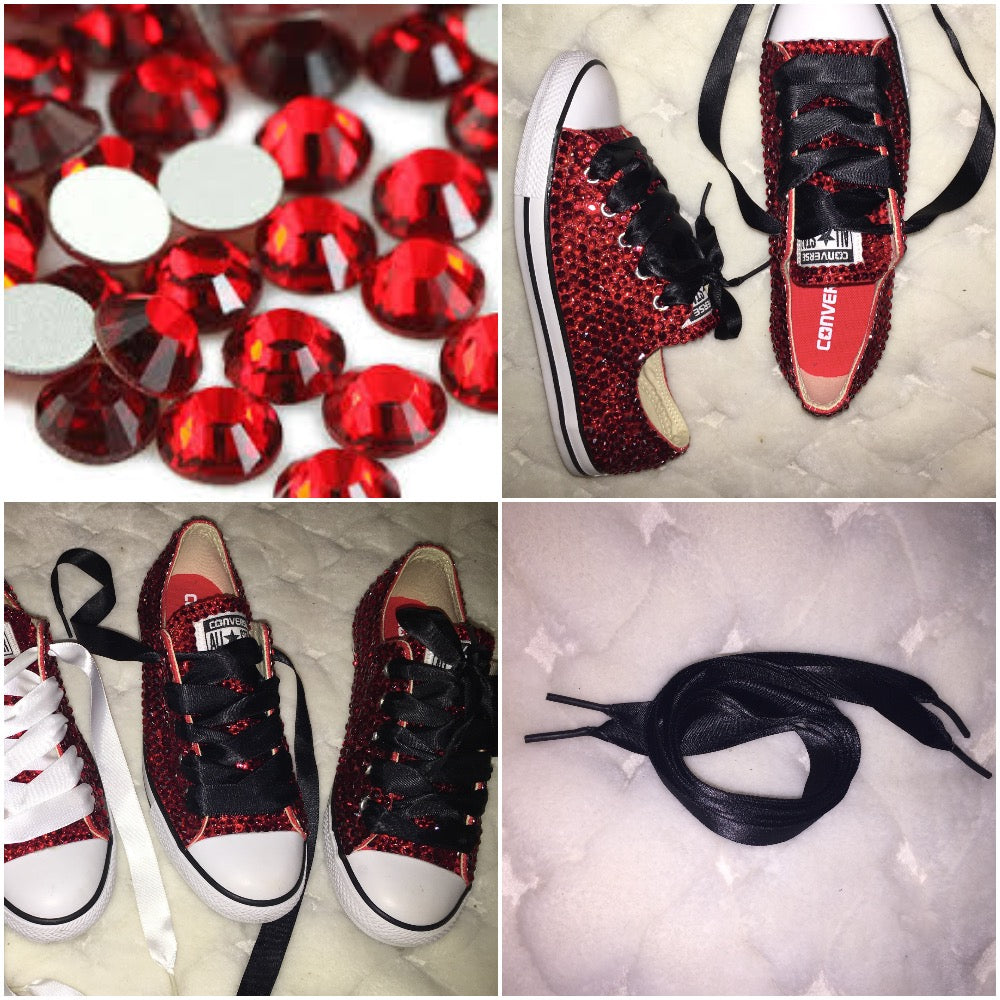 efea668e23cba5 ... All Star Red Converse With Siam Red Crystals   Black Ribbon Lace Combo  ...