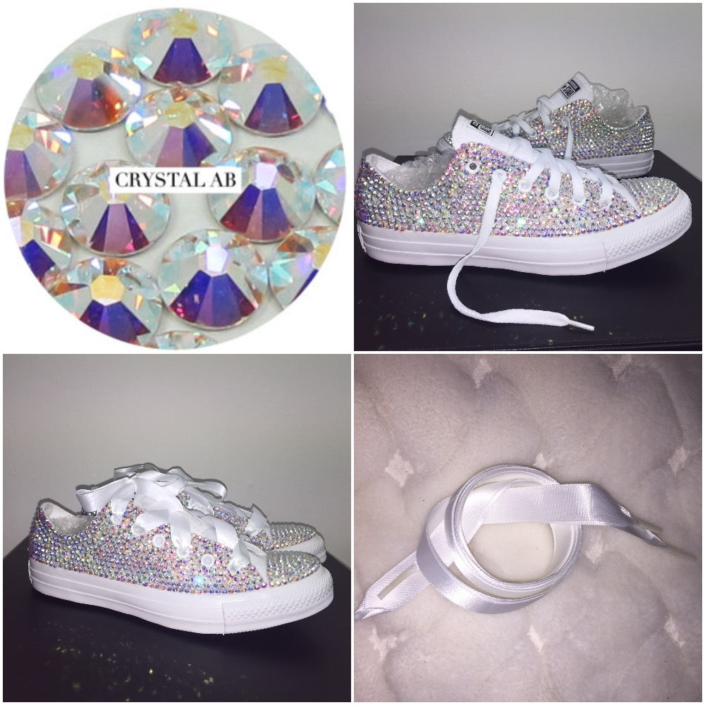 All Star Mono White Converse With Crystal AB Diamonds With White ... 087fa3ca5a33