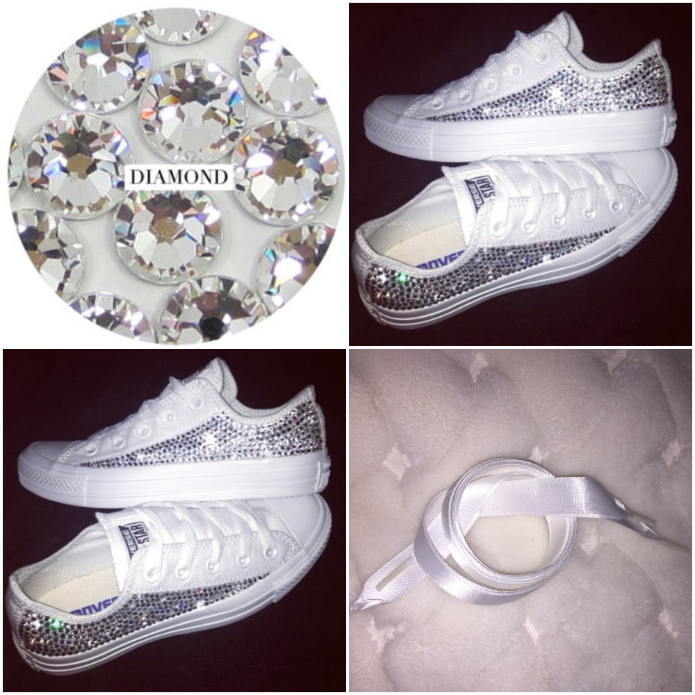dca685d7a435b8 ... All Star Mono White Converse With Swarovski Crystals   White Ribbon  Laces ...