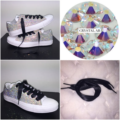All Star Mono White Converse With Crystal AB Diamonds With Black Ribbon Lace Combo