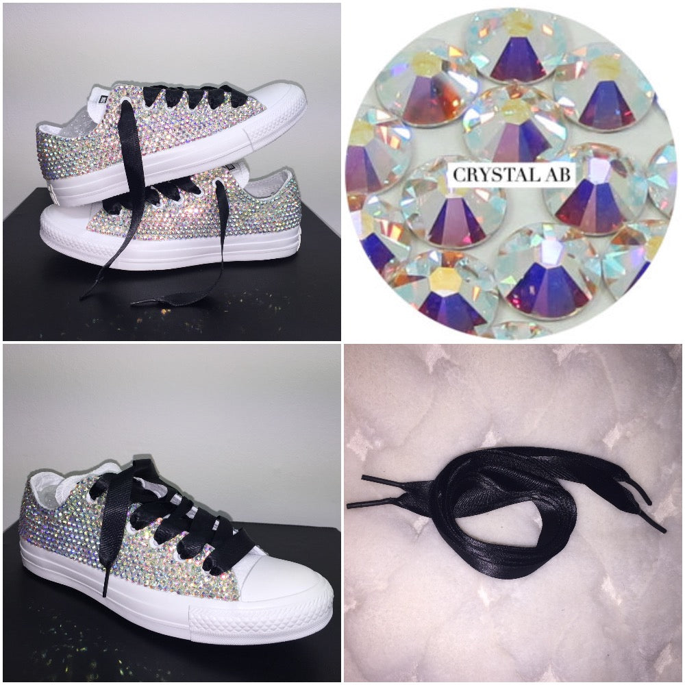 ... All Star Mono White Converse With Crystal AB Diamonds With Black Ribbon  Lace Combo ... 846b3a6d4327