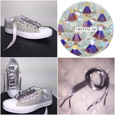All Star Mono White Converse With Crystal AB Diamonds With Silver Ribbon Lace Combo