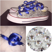 All Star Converse With Crystal Diamonds With Royal Blue Ribbon Lace Combo