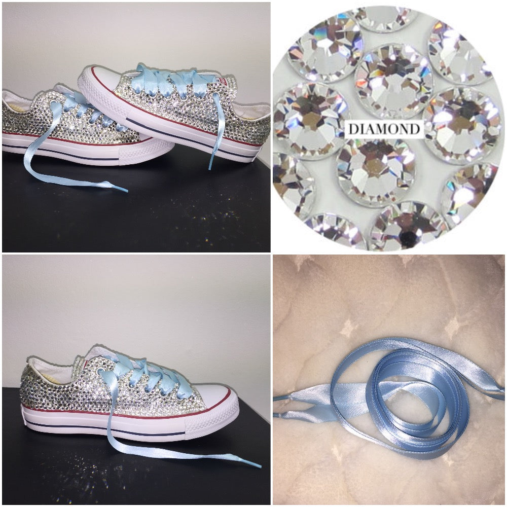 579d405e7fb ... All Star Converse With Crystal Diamonds With Baby Blue Ribbon Lace  Combo ...