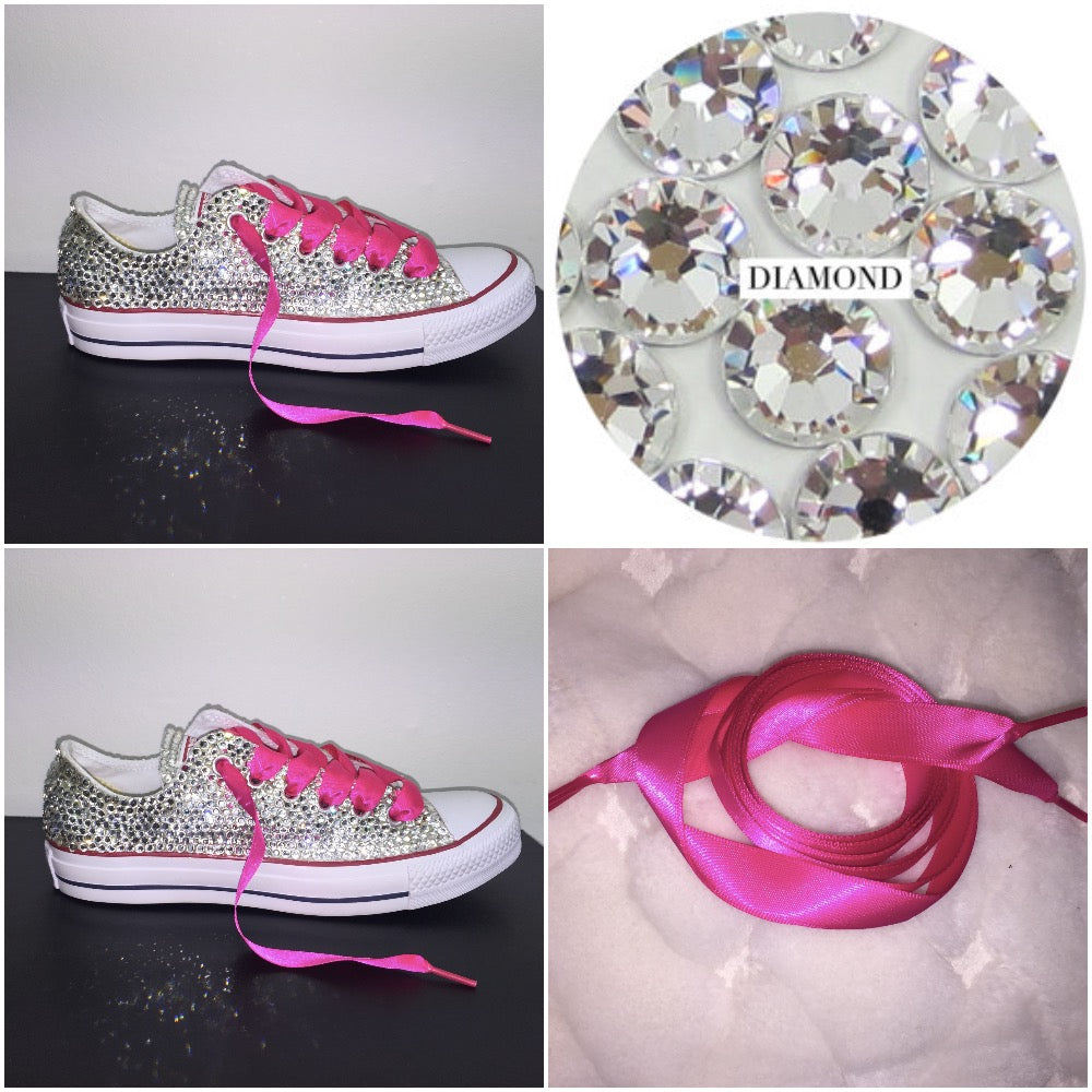 4a41bac2bfb All Star Converse With Crystal Diamonds With Fuschia Pink Ribbon Lace Combo