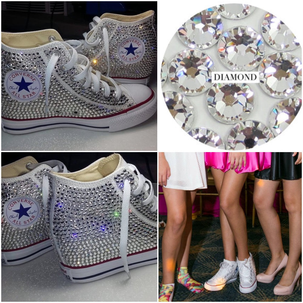 5f05001caa49 ... All Star Original Hi Top Wedges Style Converse With Diamonds   Burgundy Ribbon  Laces ...
