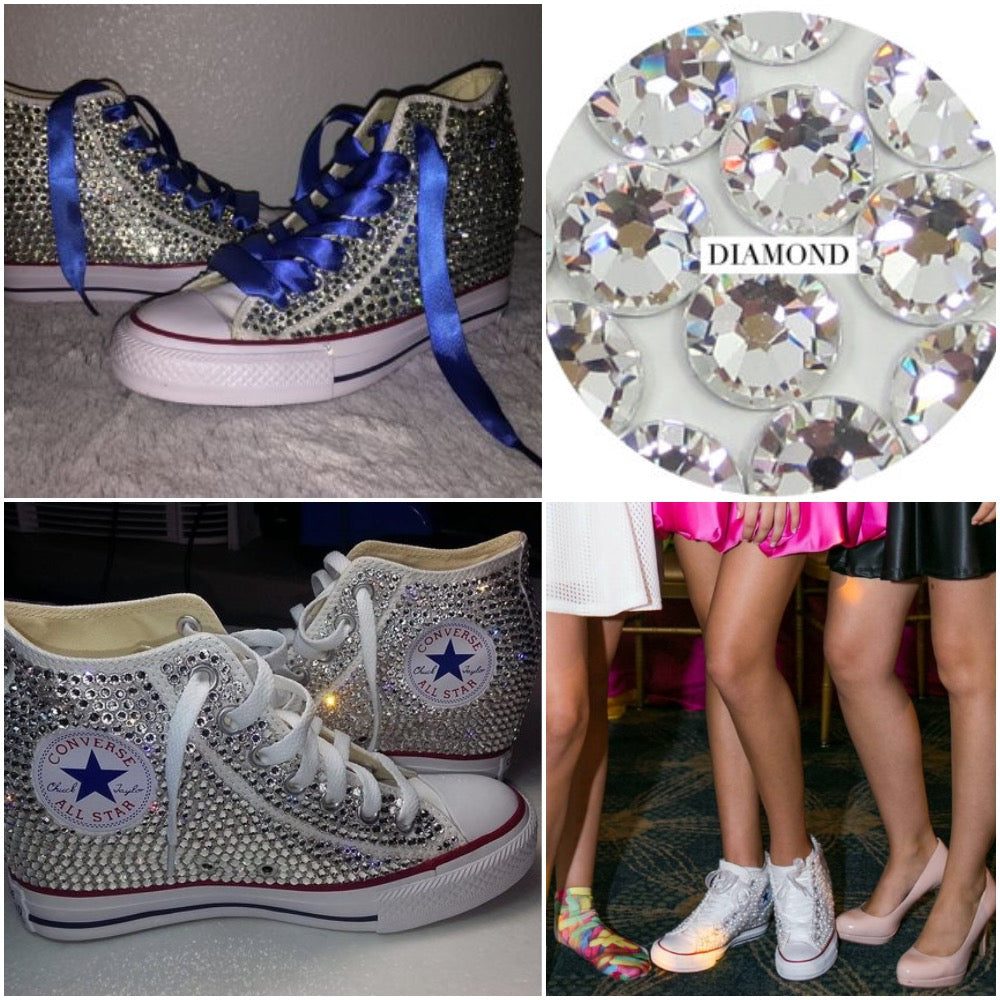 ... All Star Original Hi Top Wedges Style Converse With Diamonds   Sapphire  Blue Ribbon Laces ... 7a992fd81b14