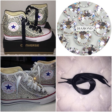 All Star Original High Top Wedges Style Converse With Diamonds & Black Ribbon Laces