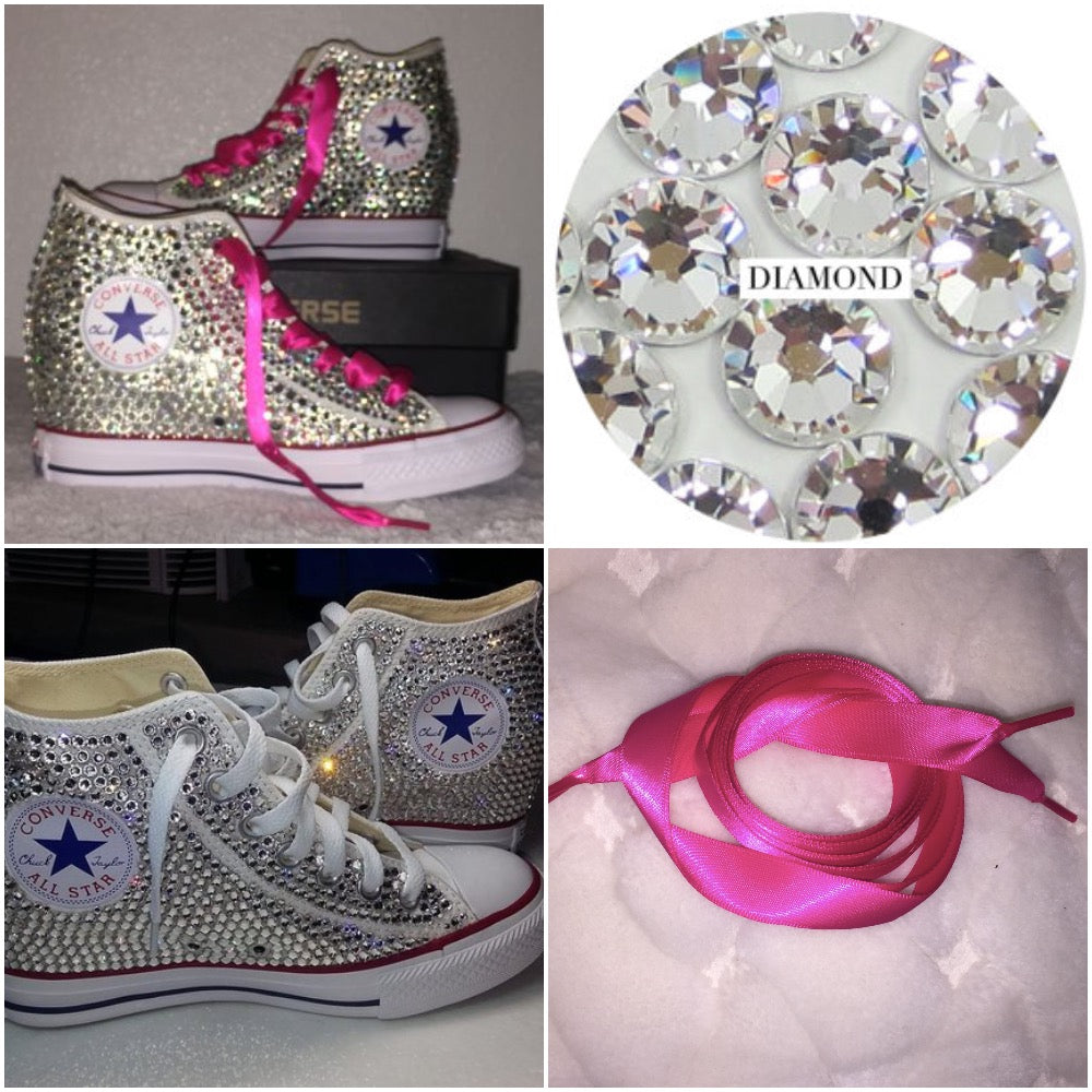 943509115096 ... All Star Original Hi Top Wedges Style Converse With Diamonds   Pink Ribbon  Laces ...