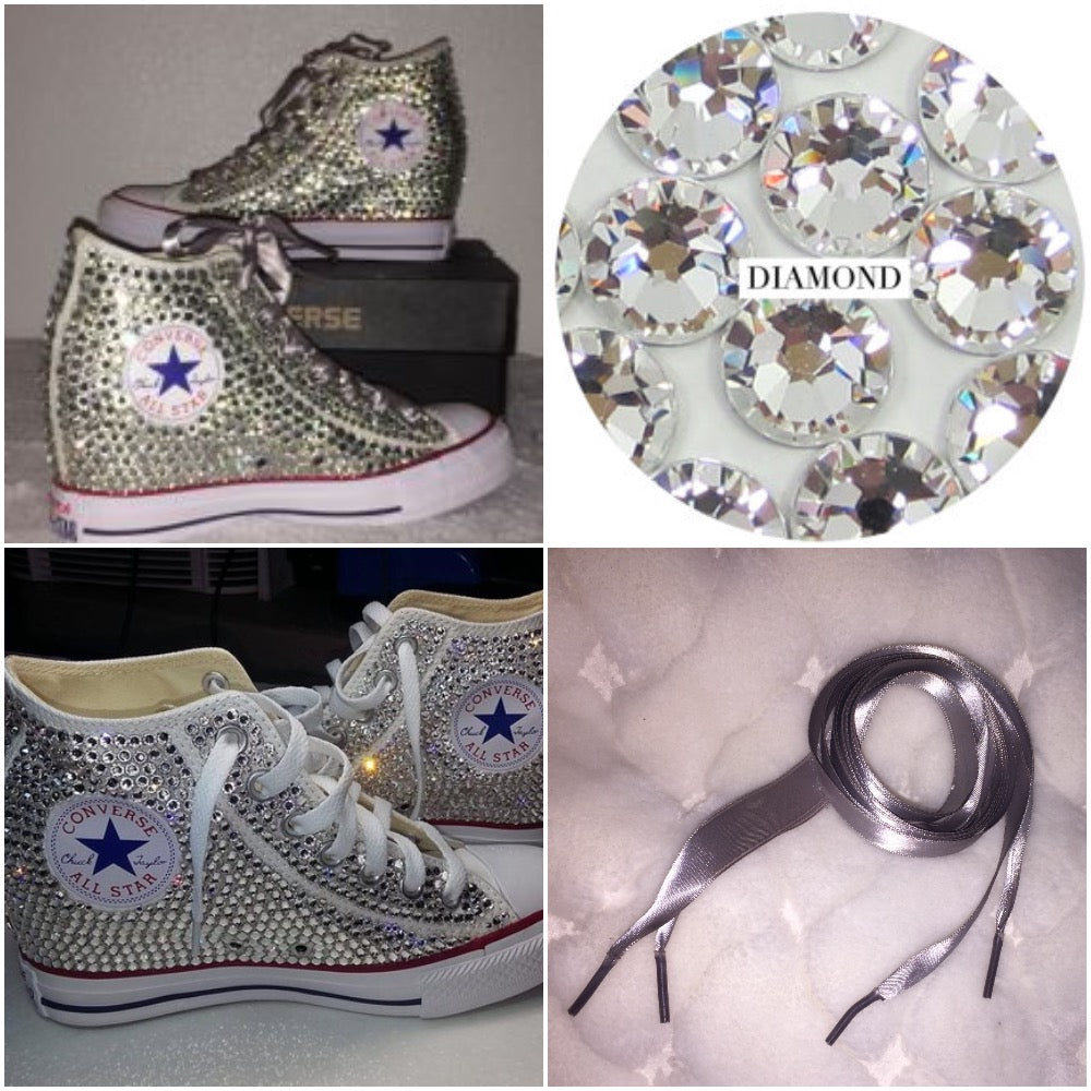8803aac6ccf4 ... All Star Original Hi Top Wedges Style Converse With Diamonds   Silver Ribbon  Laces ...