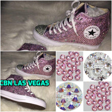 All Star Original High Top Wedges Style Converse With Diamonds & Ribbon Laces