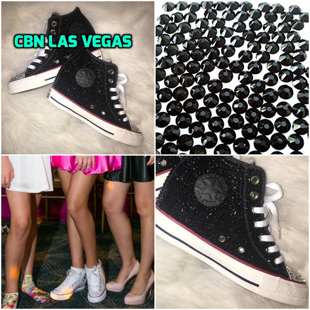 0e1c688908c9 ... All Star Original Hi Top Wedges Style Black Converse With Diamonds   Ribbon  Laces
