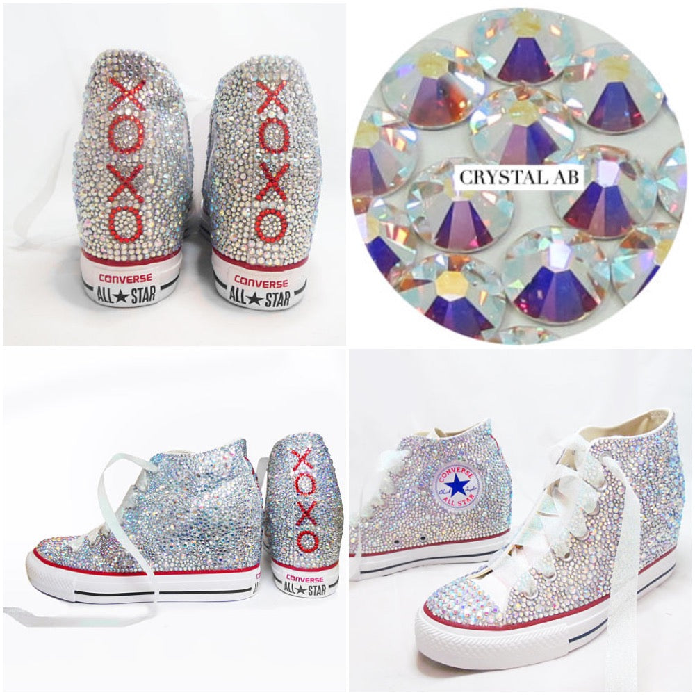 ... All Star Original Hi Top Wedges Style Converse With AB Diamonds    Ribbon Laces fffe07e043fb