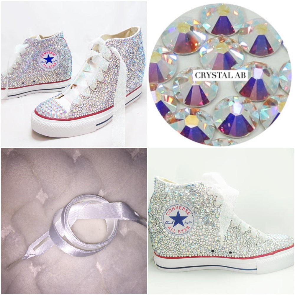 ddea6a332a10 ... All Star Original Hi Top Wedges Style Converse With AB Diamonds   Ribbon  Laces ...