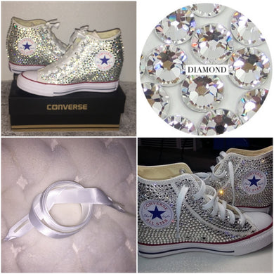All Star Original High Top Wedges Style Converse With Diamonds & White Ribbon Laces