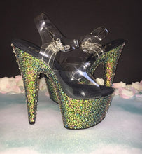 "Dancer Platform ""MoneyMaker"" Rainbow Mix Crystal Exotic Shoes"