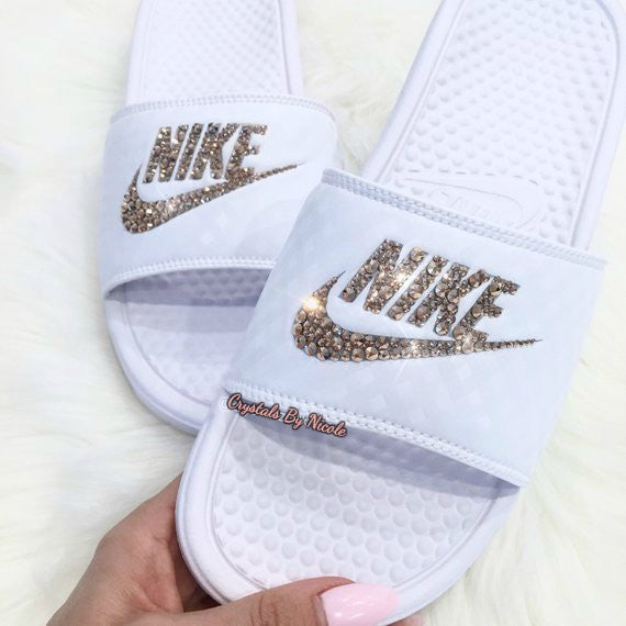c96e70814bf1 Bedazzled Rose Gold Crystal Nike Slides In White – Crystals By ...