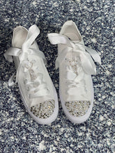 All Star Mono Converse With Pearls Hearts Crystals & White Ribbon Laces