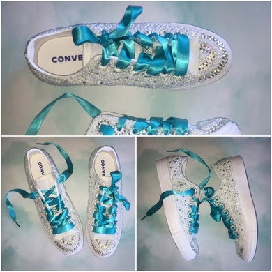 Mono Converse With Pearls & Diamonds & Teal Ribbon Laces