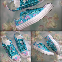 All Star Pastel Mix Converse With Pearls Diamonds & Teal Ribbon Laces