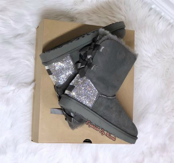 Gray UGG Bailey Bow Short Boots With Swarovski Crystals
