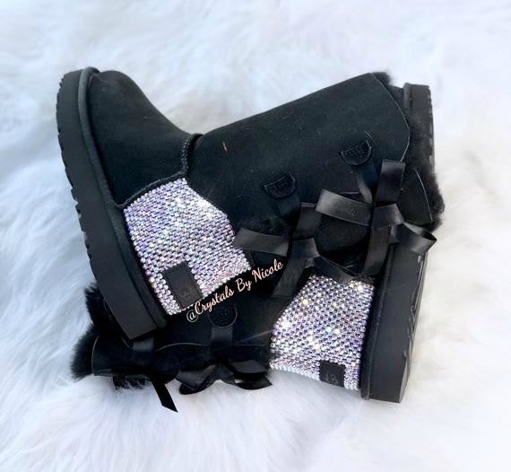 Black UGG Bailey Bow Short Boots With Swarovski Crystal AB