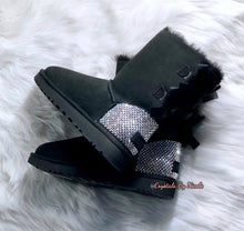 Black UGG Bailey Bow Short Boots With Swarovski Crystals