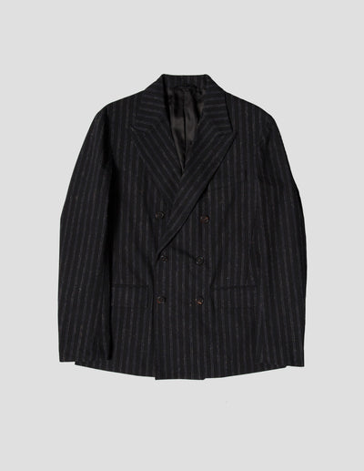 Kapatid - Double Breasted Jacket in Chalk Stripes - Front