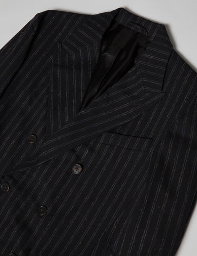 Kapatid - Double Breasted Jacket in Chalk Stripes - Detail