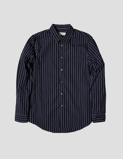 Kapatid - Gray and Navy Striped Dress Shirt - Made in the USA - Front