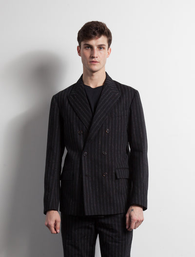 Kapatid - Double Breasted Jacket in Chalk Stripes - Front - Model