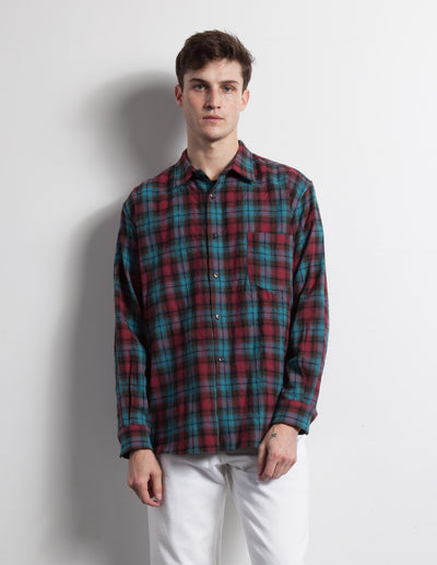 Kapatid - Men's Teal Plaid Flannel Shirt Made in the USA - Model