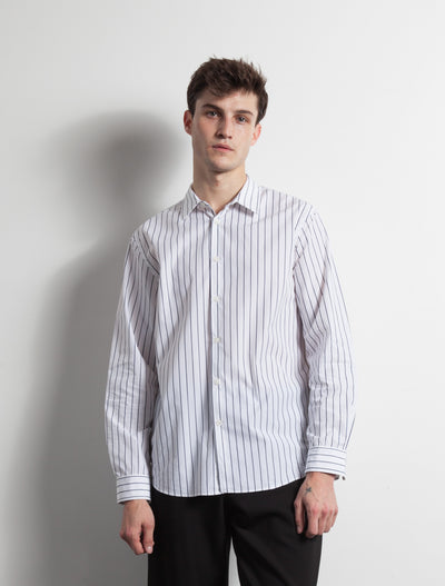 Kapatid - Gray and White Dress Striped Shirt - Made in the USA - Model